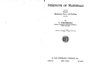 Strength of Materials. Part I, Elementary Theory and Problems. 2nd Ed