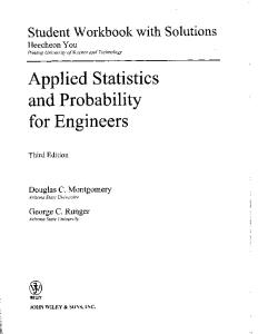 Student Workbook with Solutions Applied Statistics and Probability for Engineers, 3rd Edition