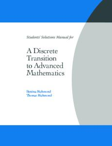 Student's Solution Manual for A Discrete Transition to Advanced Mathematics