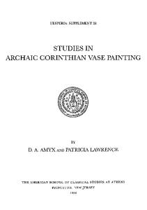 Studies in Archaic Corinthian Vase Painting (Hesperia Supplement vol 28)