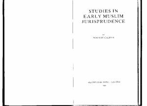 Studies in Early Muslim Jurisprudence