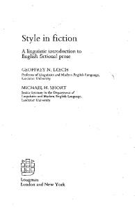 Style in Fiction: A Linguistic Introduction to English Fictional Prose (English Language Series, 13)