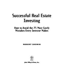 Successful Real Estate Investing: How to Avoid the 75 Most Costly Mistakes Every Investor Makes