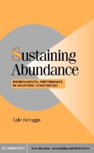 Sustaining Abundance: Environmental Performance in Industrial Democracies (Cambridge Studies in Comparative Politics)