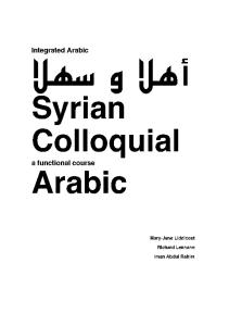 Syrian Colloquial Arabic: a Functional Course