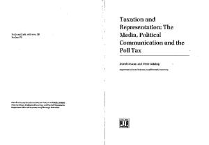 Taxation and Representation: Media, Political Communication and the Poll Tax (Acamedia Research Monograph)