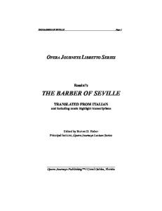The Barber of Seville (Opera Journeys Libretto Series)