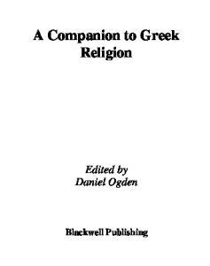 The Blackwell Companion to Greek Religion