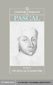 The Cambridge Companion to Pascal