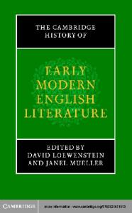 The Cambridge History of Early Modern English Literature (The New Cambridge History of English Literature)