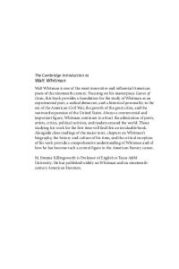 The Cambridge Introduction to Walt Whitman (Cambridge Introductions to Literature)