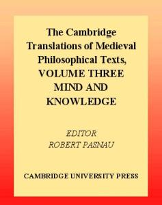 The Cambridge Translations of Medieval Philosophical Texts: Volume 3, Mind and Knowledge (The Cambridge Translations of Medieval Philosophical Texts)