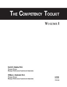 The Competency Toolkit  Volume 1 of a 2 Volume Set