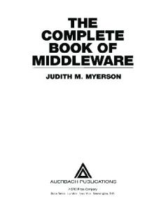 The complete book of middleware pdf