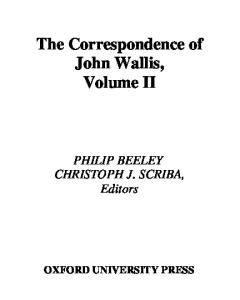 The Correspondence of John Wallis: Volume II (1660 - September 1668)