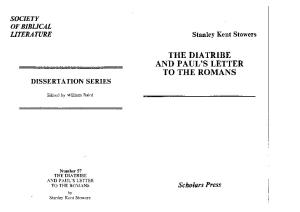 The diatribe and Paul's letter to the Romans (Dissertation series   Society of Biblical Literature)