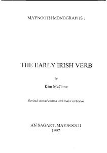The Early Irish Verb (Maynooth monographs)
