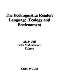 The Ecolinguistics Reader: Language, Ecology, and Environment