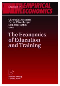 The economics of education and training