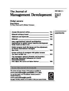 The Journal of Management Development, Volume 23, Number 9, 2004