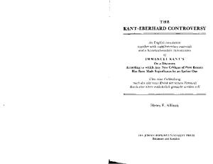 The Kant - Eberhard Controversy: An English Translation together with Supplementary Materials and a Historical-Analytic Introduction of Immanuel Kant's ... Has Been Made Superfluous by an Earlier One