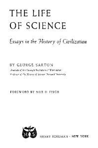 The Life of Science. Essays in the History of Civilisation