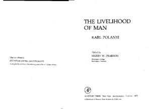 The Livelihood of Man (Studies in social discontinuity)