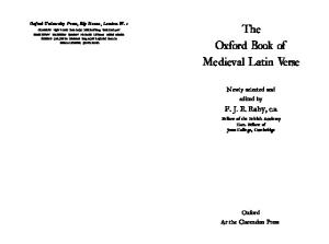 The Oxford Book of Medieval Latin Verse