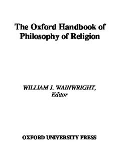 The Oxford Handbook of Philosophy of Religion (Oxford Handbooks in Philosophy)