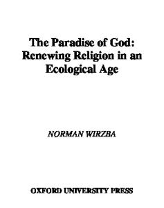 The Paradise of God: Renewing Religion in an Ecological Age