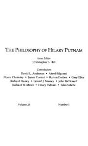 The philosophy of Hilary Putnam (Philosophical Topics)