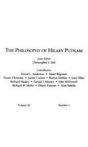 The philosophy of Hilary Putnam (Philosophical Topics)