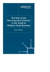 The Role of the Non-Executive Director in the Small to Medium Sized Business