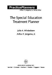The Special Education Treatment Planner (Practice Planner)