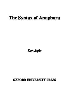 The Syntax of Anaphora (Oxford Studies in Comparative Syntax)