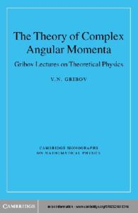 The theory of complex angular momenta (Gribov's lectures in theoretical physics)