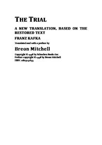 The Trial: A New Translation Based on the Restored Text
