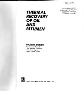 Thermal Recovery of Oil and Bitumen