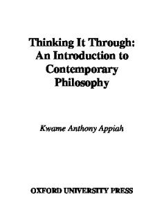 Thinking It Through- An Introduction to Contemporary Philosophy