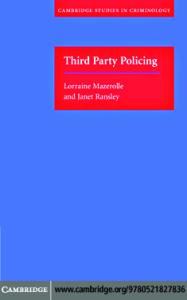 Third Party Policing (Cambridge Studies in Criminology)