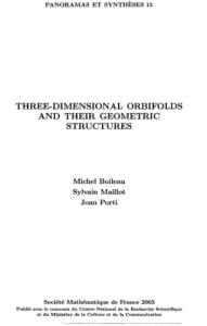 Three-Dimensional Orbifolds and Their Geometric Structure