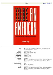 To Be An American: Cultural Pluralism and the Rhetoric of Assimilation (Critical America Series)