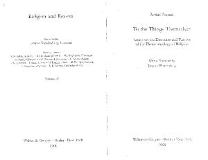 To the Things Themselves: Essays on the Discourse and Practice of the Phenomenology of Religion (Religion and Reason)