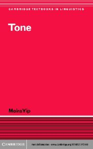 Tone (Cambridge Textbooks in Linguistics)