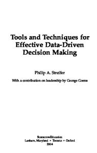 Tools and Techniques for Effective Data-Driven Decision Making