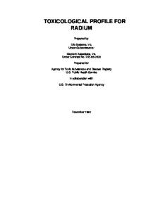 Toxicological profiles - Radium