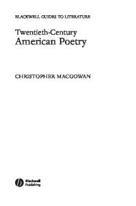 Twentieth-Century American Poetry (Blackwell Guides to Literature)