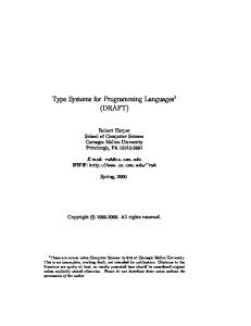 Type systems for programming languages