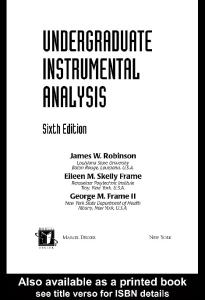 Undergraduate Instrumental Analysis, Sixth Edition
