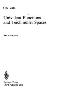 Univalent Functions and Teichmuller Spaces